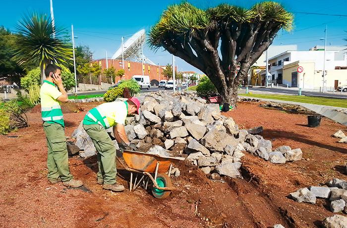 Trabajadores de interjardin preparando los materiales para embellecer el paisajismo urbano de la rotonda del Museo de la ciencia y el cosmo en la Avenida de los Menceyes de San Cristobal de La Laguna