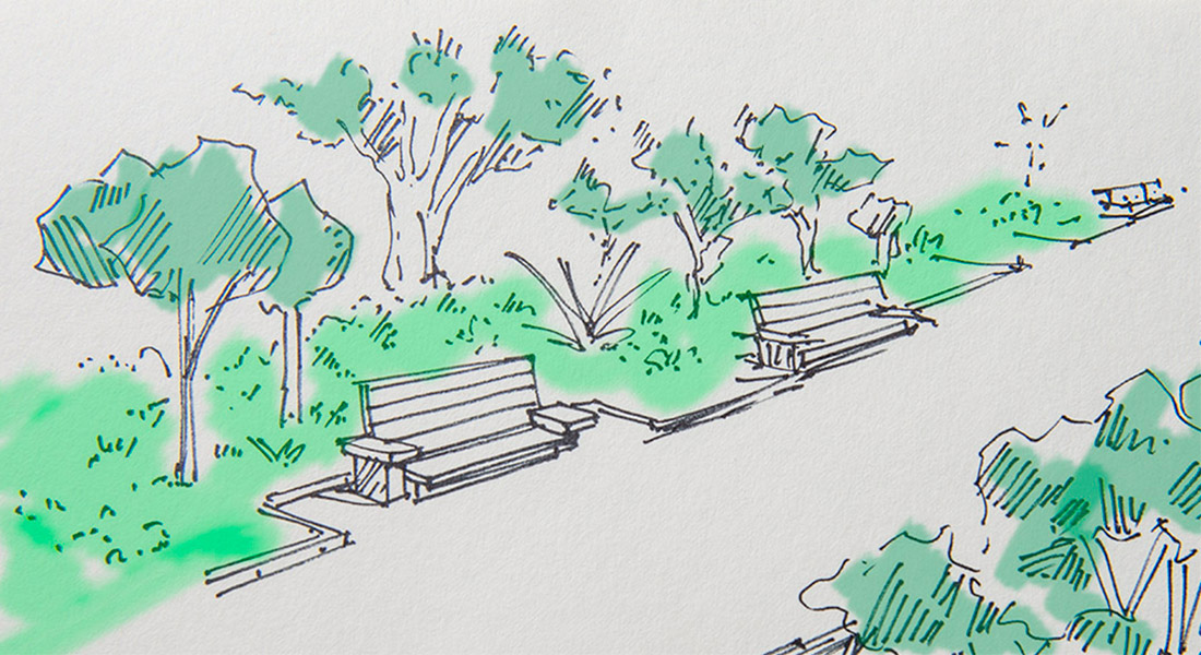 Croquis de diseño de parque con arboles, cesped y mobiliario urbano de un parque de Santa Cruz de Tenerife